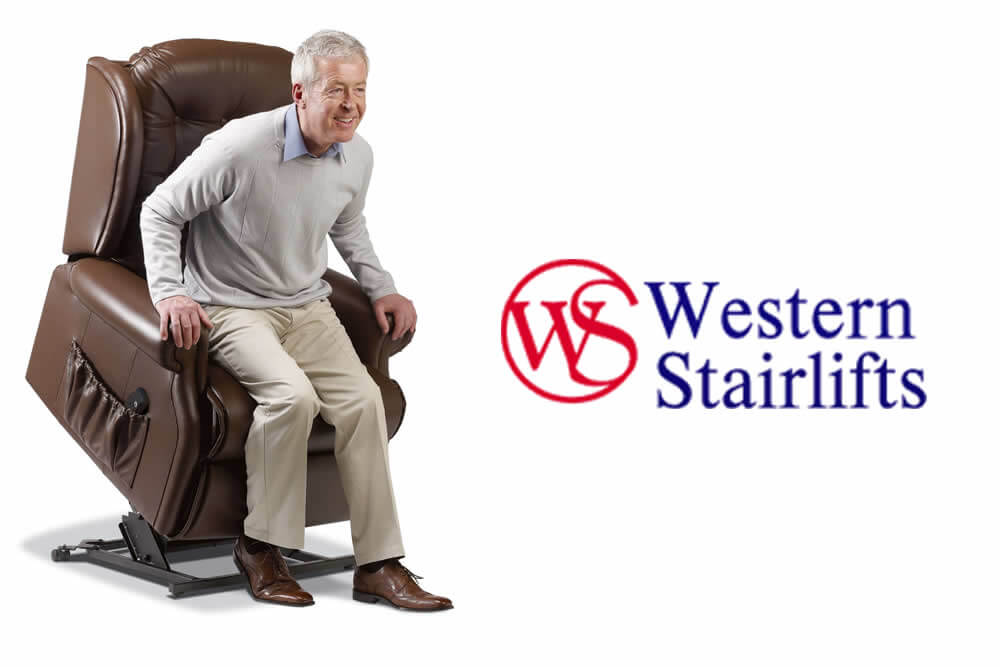 A senior man being helped to his feet with a Western Stair Lift Power Lift Chair