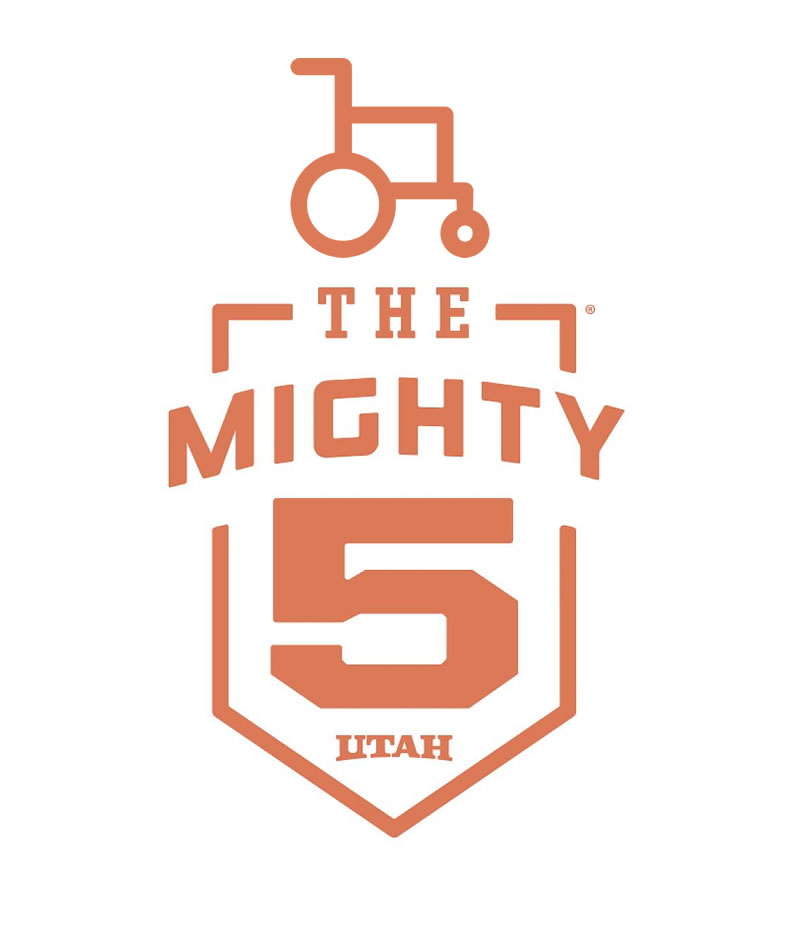 Burnt orange Icon with a wheelchair and The Might Five written below