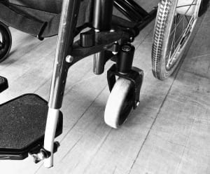 black and white image of wheelchair